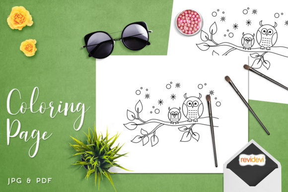 Print on Demand: Papa Owl and Son Coloring Graphic Coloring Pages & Books Kids By Revidevi