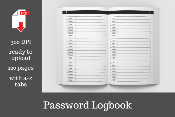Print on Demand: Password Keeper Logbook Graphic KDP Interiors By KDP Template Designs