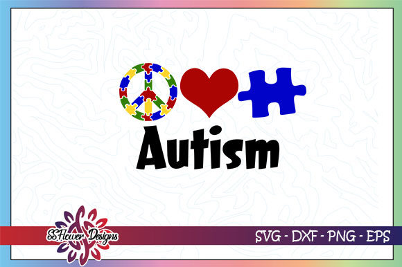 Download Free Peace Love Puzzle Autism Graphic By Ssflower Creative Fabrica for Cricut Explore, Silhouette and other cutting machines.
