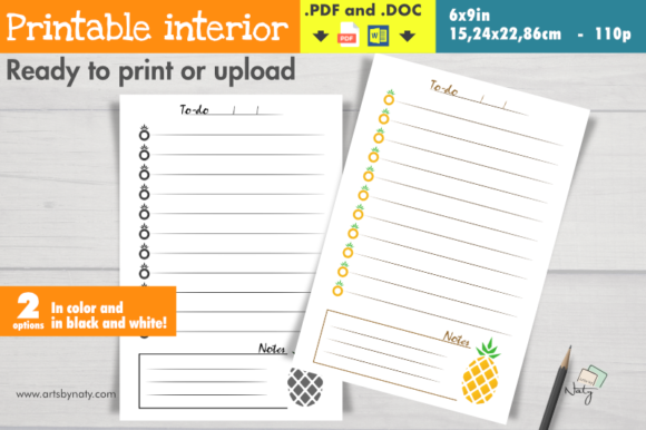 Print on Demand: Pineapple to-do List Printable Interior Graphic KDP Interiors By artsbynaty