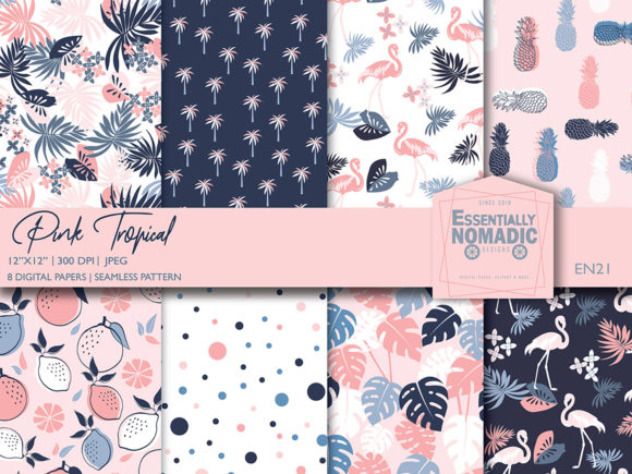 Download Free Pink Tropical Seamless Digital Print Graphic By for Cricut Explore, Silhouette and other cutting machines.
