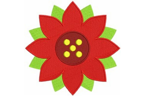 Poinsettia Flower Single Flowers & Plants Embroidery Design By designsbymira
