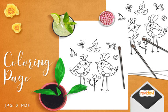 Print on Demand: Polka Dots Birds Coloring Graphic Coloring Pages & Books Kids By Revidevi