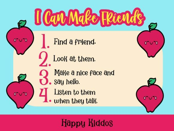 Poster I Can Make Friends for Classroom Graphic K By Happy Kiddos - Image 1