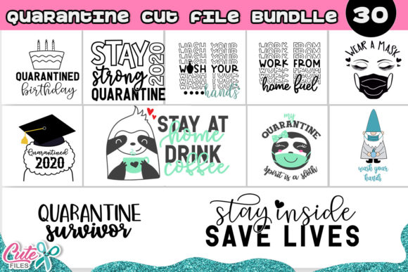 The Quarantine Bundle 30 Designs Graphic Illustrations By Cute files - Image 9