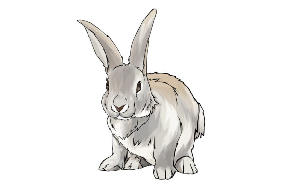 Download Free Rabbit Vector Art Graphic By Rfg Creative Fabrica for Cricut Explore, Silhouette and other cutting machines.