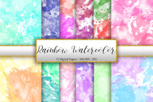Print on Demand: Rainbow Watercolor Background Texture Graphic Backgrounds By PinkPearly
