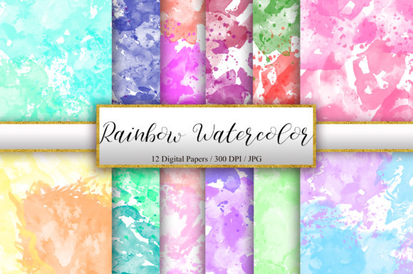 Rainbow Watercolor Background Texture Graphic Backgrounds By PinkPearly