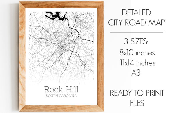 Print on Demand: Rock Hill South Carolina City Map Graphic Photos By SVGExpress