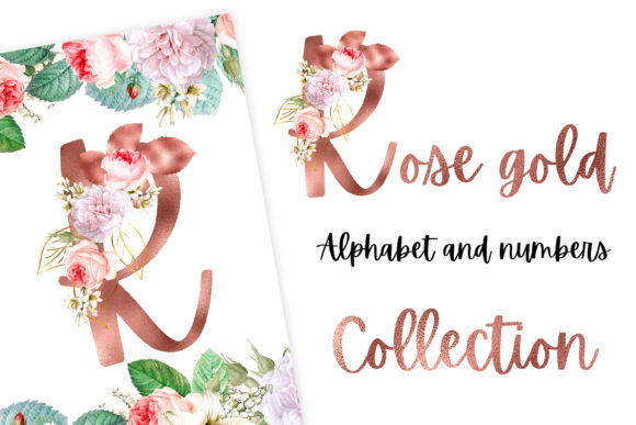 Print on Demand: Rose Gold Alphabet and Numbers Gráfico Ilustraciones Por Andreea Eremia Design