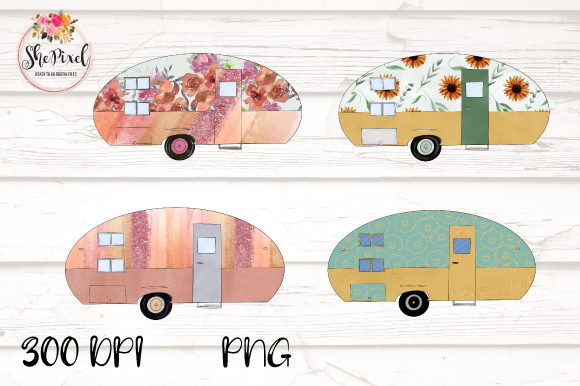 Print on Demand: Rose Gold Vintage Camper Clipart Graphic Illustrations By FunFair Designs