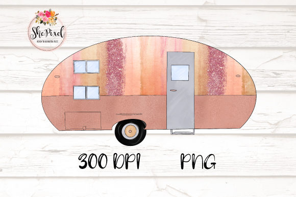 Download Free Rose Gold Vintage Camper Clipart Grafico Por Shepixel Creative for Cricut Explore, Silhouette and other cutting machines.