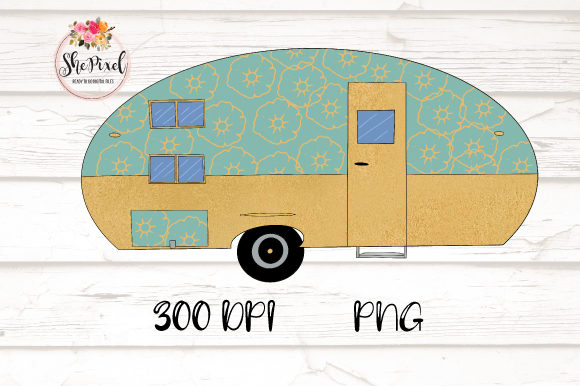 Download Free Rose Gold Vintage Camper Clipart Graphic By Shepixel Creative for Cricut Explore, Silhouette and other cutting machines.
