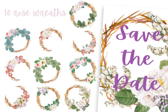 Download Free Rose Wreaths Frames And Patterns Collection Graphic By Andreea for Cricut Explore, Silhouette and other cutting machines.