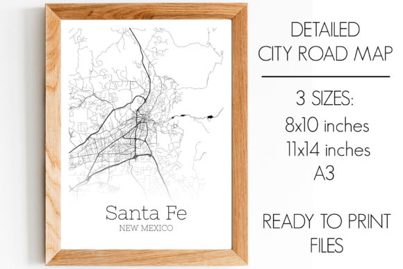 Print on Demand: Santa Fe New Mexico City Map Graphic Photos By SVGExpress - Image 1