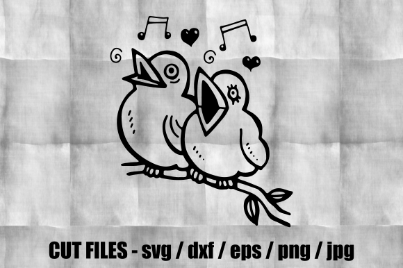 Download Free Singing Love Birds Cut File Clipart Graphic By Prawny Creative Fabrica for Cricut Explore, Silhouette and other cutting machines.