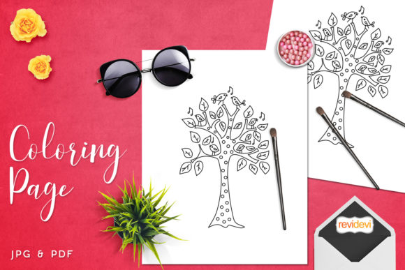 Print on Demand: Singing Birds Tree Coloring Graphic Coloring Pages & Books Kids By Revidevi