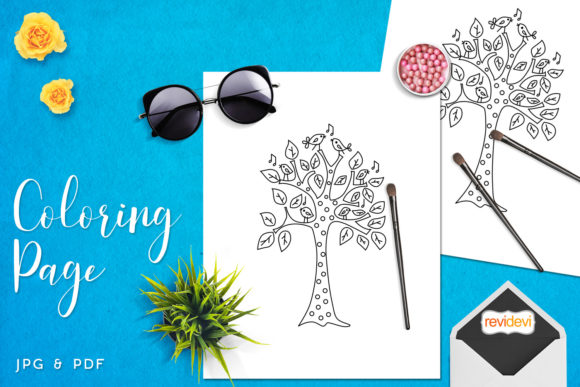 Download Free Singing Birds Tree Coloring Graphic By Revidevi Creative Fabrica for Cricut Explore, Silhouette and other cutting machines.