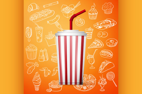 Soda Fountain Drink Hand Draw Fast Food Graphic Illustrations By netkov1