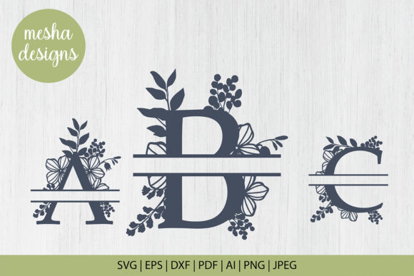 Download Free Split Botanical Letters A To Z Graphic By Diycuttingfiles for Cricut Explore, Silhouette and other cutting machines.