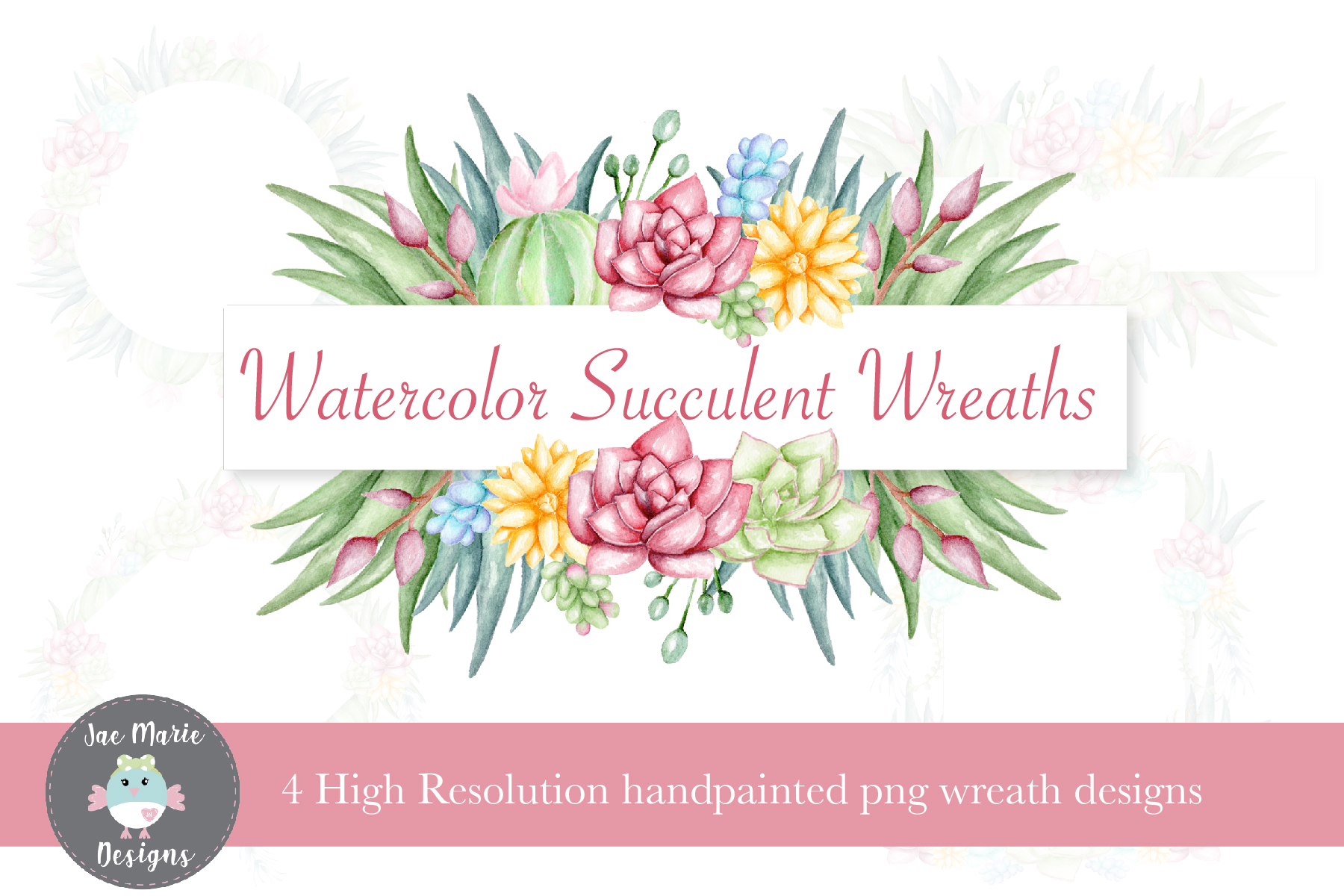 Download Free Succulent Wreath Clipart Set Graphic By Thejaemarie Creative for Cricut Explore, Silhouette and other cutting machines.