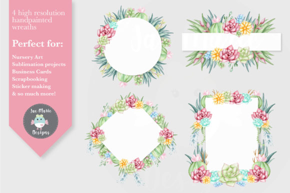 Succulent Wreath Clipart Set Graphic By Thejaemarie Creative Fabrica