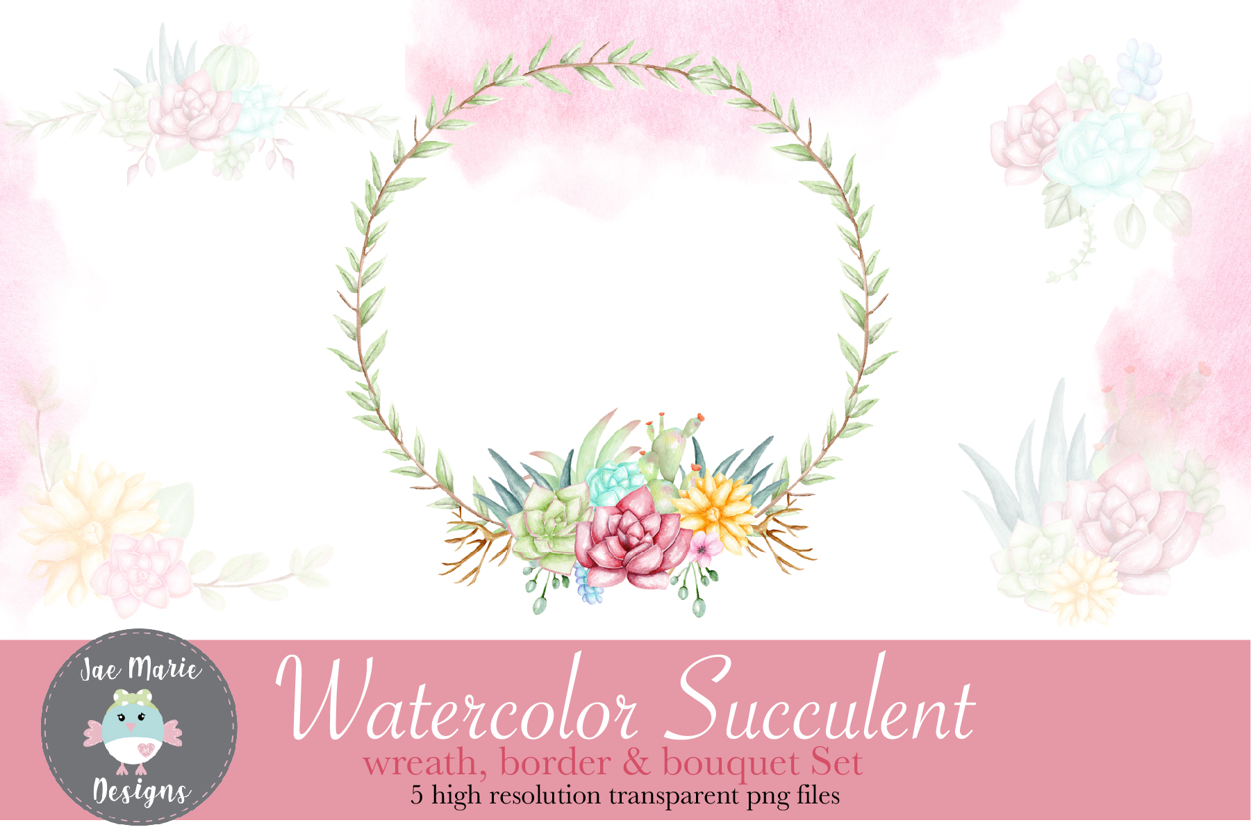 Download Free Succulent Wreath Watercolor Clipart Graphic By Thejaemarie for Cricut Explore, Silhouette and other cutting machines.