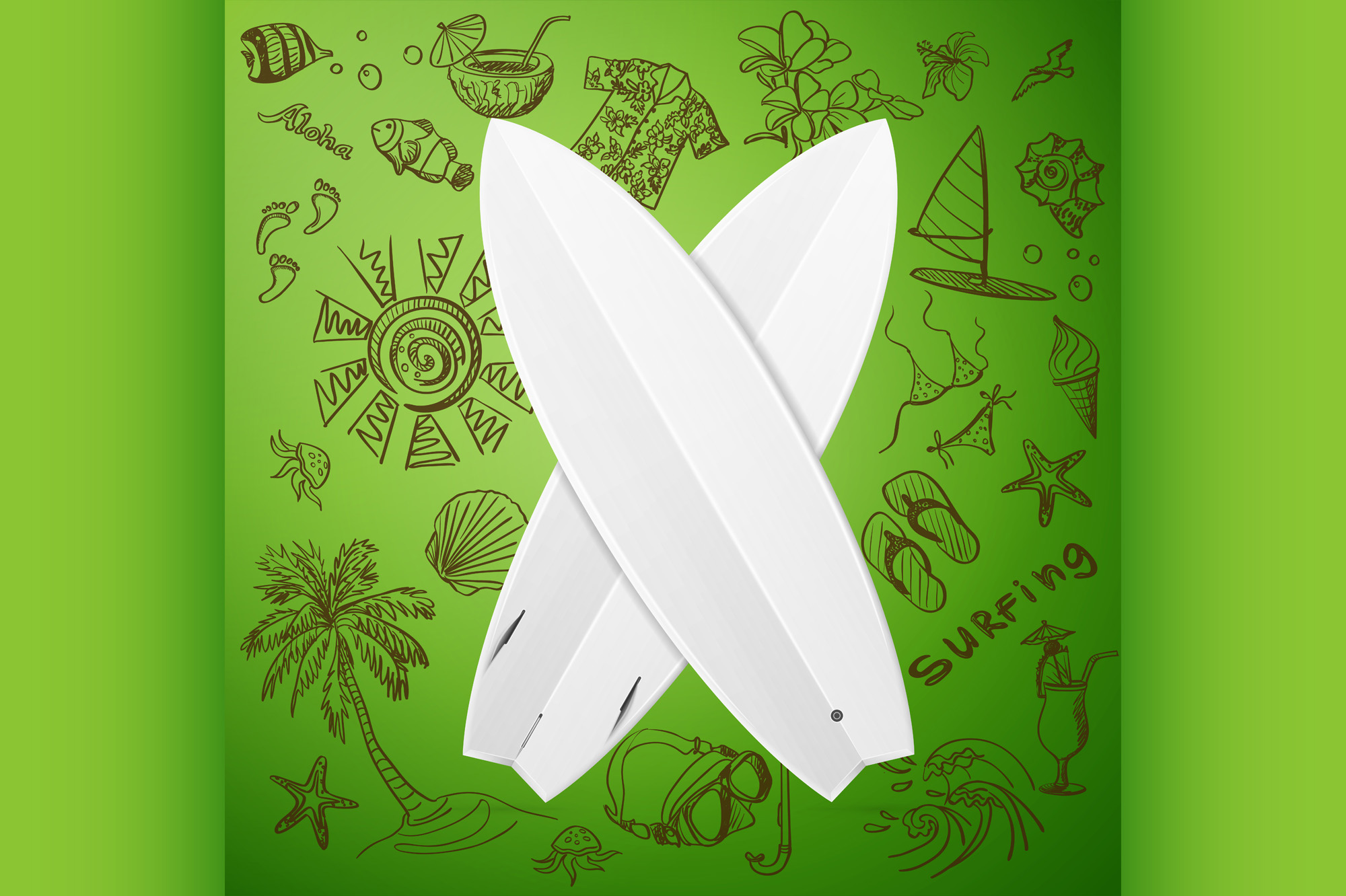 Surfboard And Hand Draw Surf Icon Graphic By Netkov1 Creative