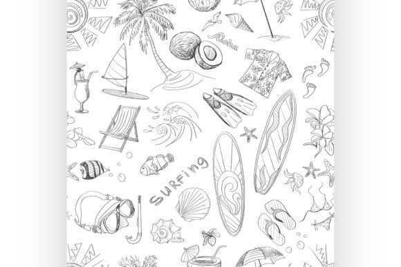 Download Free Surfing Hand Draw Pattern Graphic By Netkov1 Creative Fabrica for Cricut Explore, Silhouette and other cutting machines.