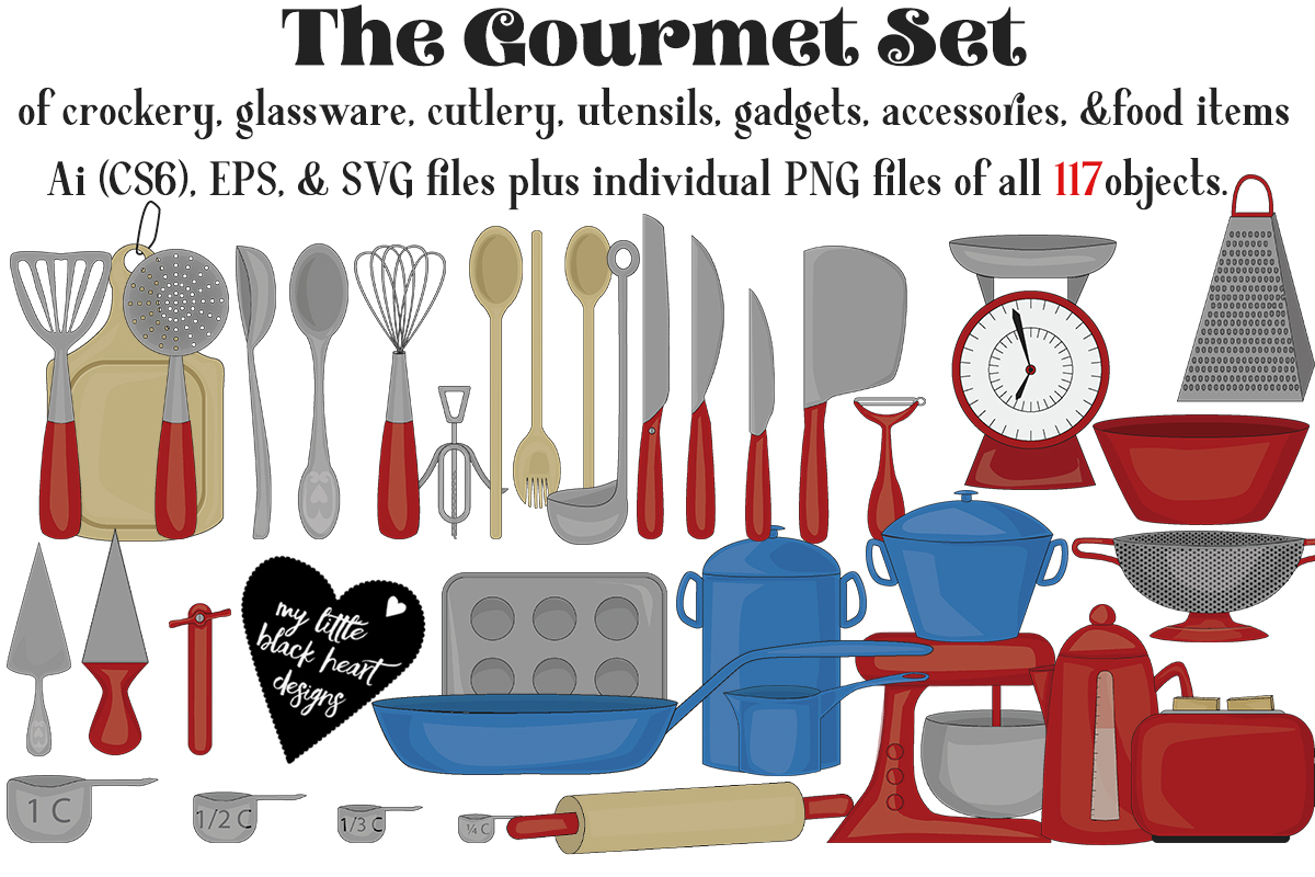 Download Free The Gourmet Set Graphic By My Little Black Heart Creative Fabrica for Cricut Explore, Silhouette and other cutting machines.