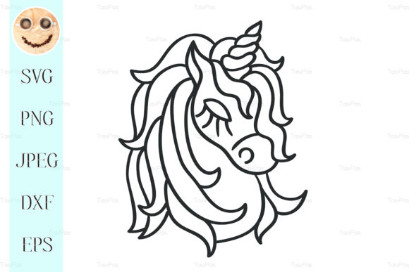Print on Demand: Unicorn Head Silhouette Sketch Icon. Graphic Illustrations By TasiPas