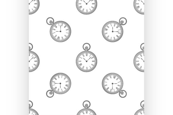 Vector Seamless Retro Pattern, Clock Graphic Illustrations By netkov1