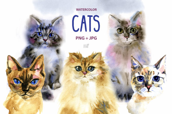 Watercolor Cats Clipart Graphic Illustrations By NataliMyaStore