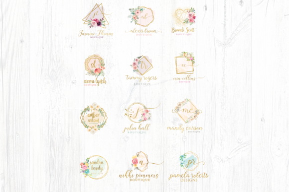 Print on Demand: Watercolor Geometric Logo Templates Graphic Logos By Blueberry Jam Design