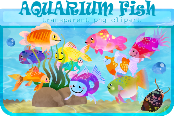 Print on Demand: Watercolor Ink Aquarium Fish Clipart Graphic Illustrations By Prawny