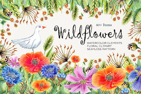 Watercolor Wildflowers Graphic Illustrations By evgenia_art_art