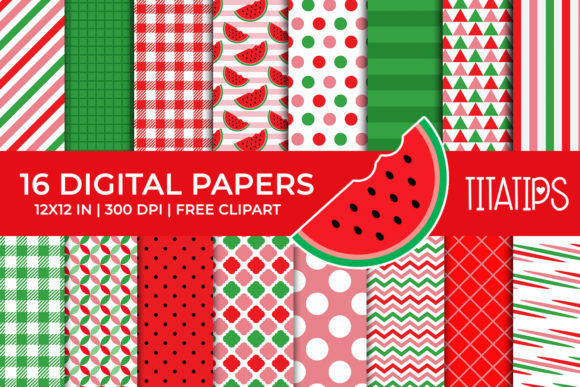 Watermelon Digital Papers Set Graphic Backgrounds By TitaTips