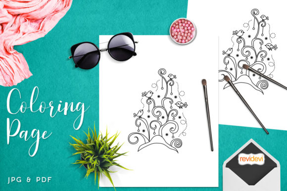 Print on Demand: Whimiscal Birds Tree Coloring Graphic Coloring Pages & Books Kids By Revidevi