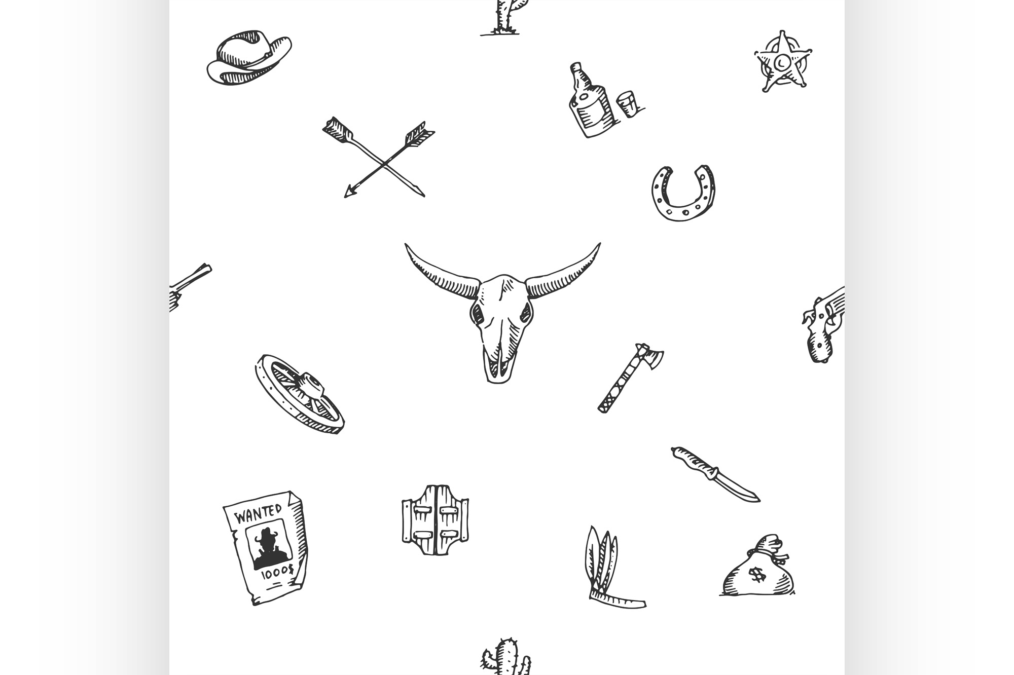 Download Free Wild West Design Sketch Pattern Graphic By Netkov1 Creative for Cricut Explore, Silhouette and other cutting machines.