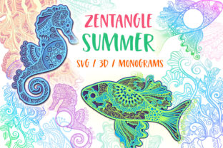 Print on Demand: Zentangle Summer Bundle - 3D Items Grafik 3D Formen von tatiana.cociorva
