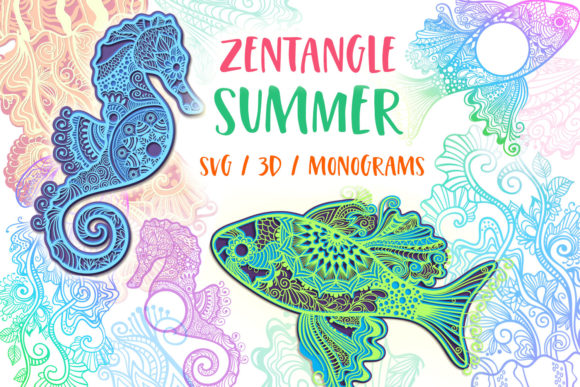 Print on Demand: Zentangle Summer Bundle - SVG / 3D Items Graphic 3D Shapes By tatiana.cociorva