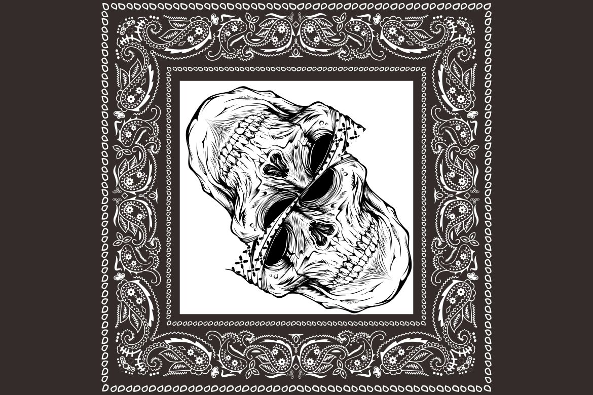Download Free Bandana Skull Black White Graphic By Epic Graphic Creative Fabrica for Cricut Explore, Silhouette and other cutting machines.