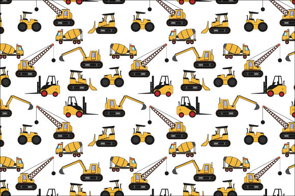 Print on Demand: Construction Vehicles Pattern Graphic Patterns By curutdesign
