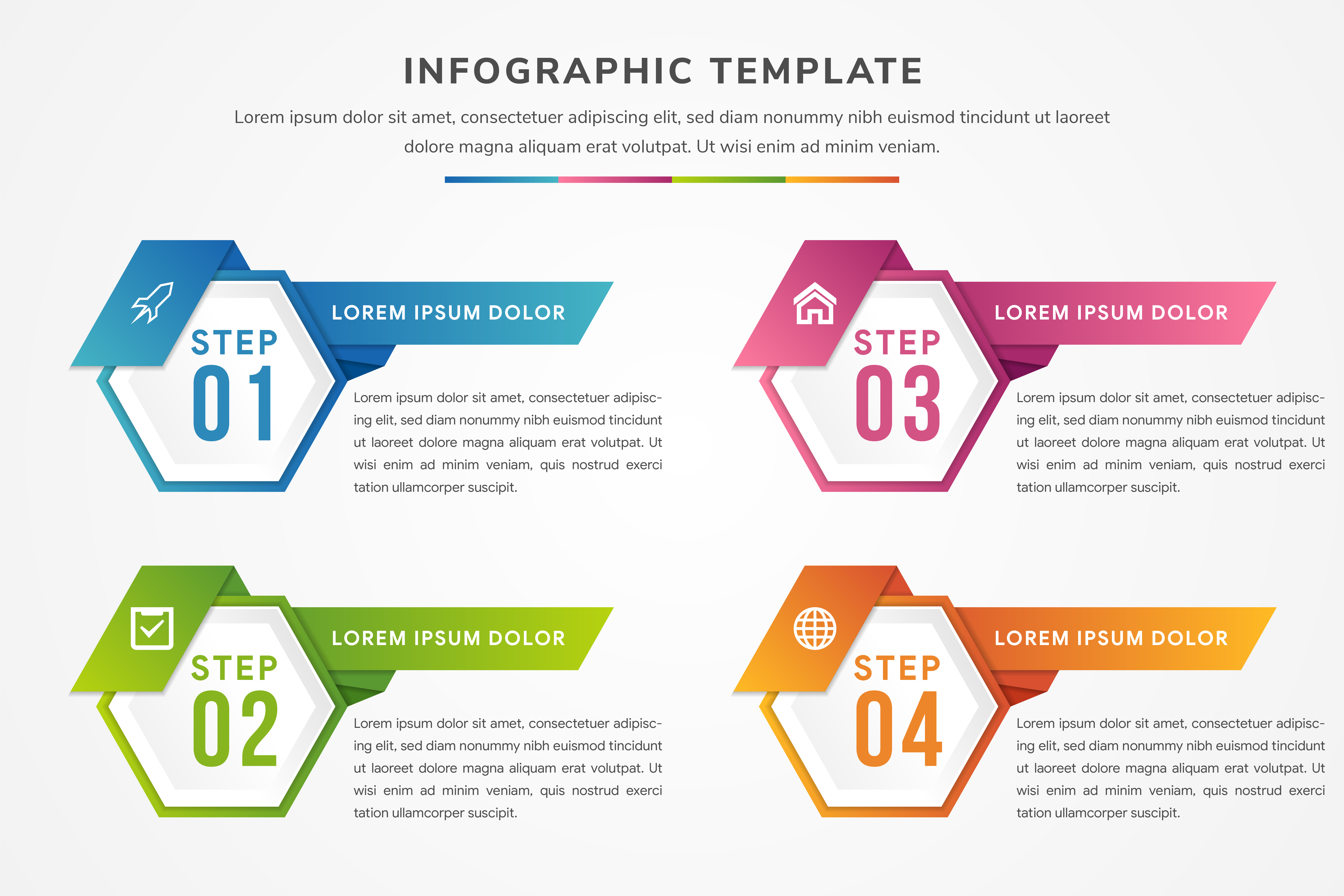 Download Free Gradient Hexagon Horizontal Infographic Graphic By Noory Shopper for Cricut Explore, Silhouette and other cutting machines.