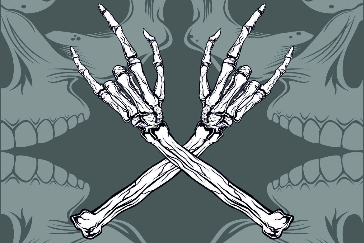 Download Free Hand Skull Metal Grafik Von Epic Graphic Creative Fabrica for Cricut Explore, Silhouette and other cutting machines.