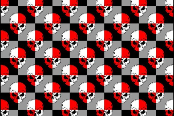 Pattern Skull Red White Graphic Illustrations By Epic.Graphic