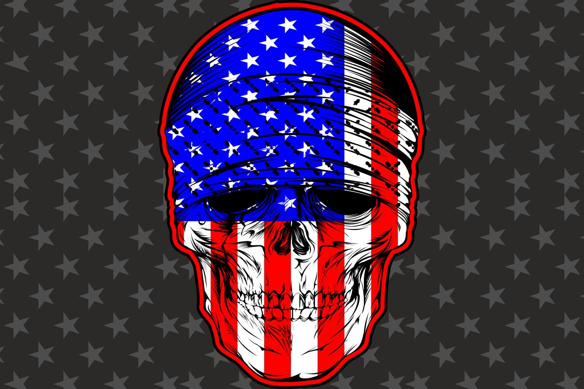 Download Free Skull Bandana With Usa Flag Graphic By Epic Graphic Creative for Cricut Explore, Silhouette and other cutting machines.