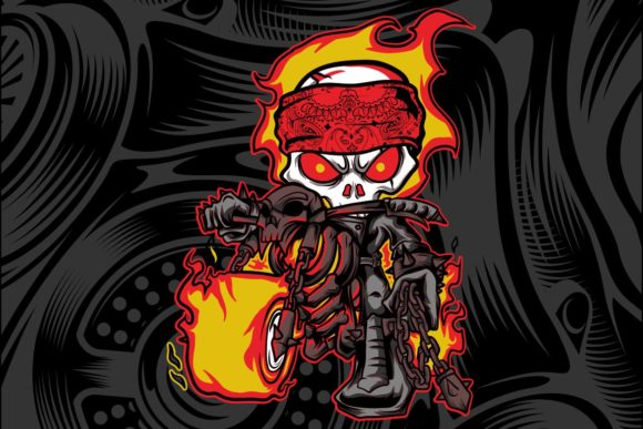 Skull Rider Fire Motor Bikers Graphic Illustrations By Epic.Graphic