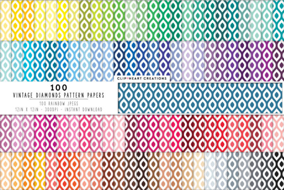 100 Diamond Pattern Paper Graphic Backgrounds By clipheartcreations