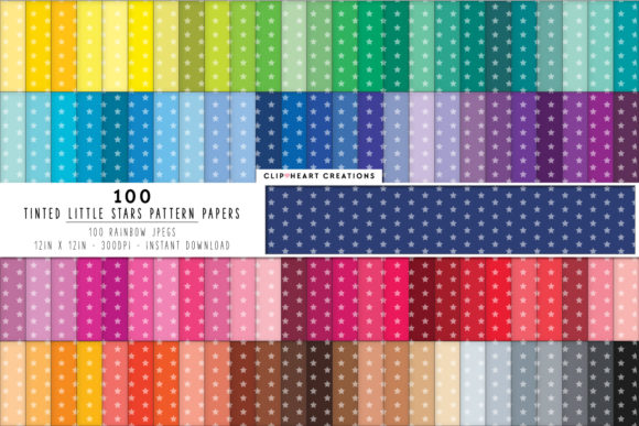 100 Star Pattern Digital Papers Graphic Backgrounds By clipheartcreations